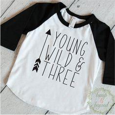 Young Wild and Three Shirt Boy Third Birthday Shirt 3 Year Old Shirt Trendy Kids Clothes Hipster Toddler Boy Shirt by BumpAndBeyondDesigns