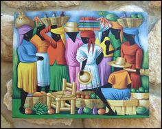 "Haitian Art - Market Ladies - Original Painting - 16"" x 20"" - $32.95 - To see more, visit us at www.HaitiGallery.com"