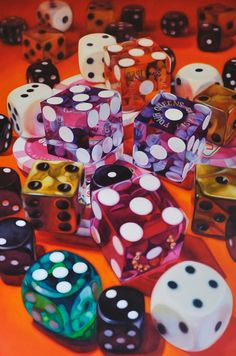 four queens by Kate Brinkworth ~ oil on canvas still life hyper-realistic art ~ dice