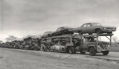 """""""Loads of 1967 Chevys lined up in Janesville, WI. Note police package car on the first truck."""""""