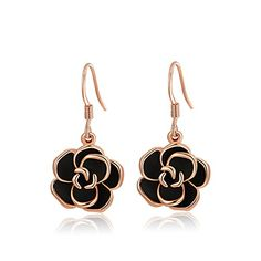 FJYOURIA Bling Jewelry Womens Drop Earrings PlatinumRose Gold Plated Black Rose Flower Hook Earrings rosegoldplatedbase -- Learn more by visiting the image link.-It is an affiliate link to Amazon. #WeddingEarrings