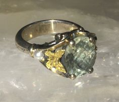 Ann King Sterling/18k butterfly accent 3.40 ct tw green quartz Ring Size 9 #AnnKing