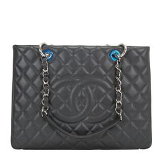 Chanel Dark Grey Quilted Caviar Grand Shopper Tote (GST) Bag - Chanel dark grey quilted caviar leather Grand Shopper Tote (GST) bag with silver tone hardware.