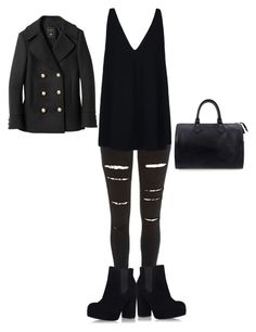 """""""#black is always classy"""" by ambervin ❤ liked on Polyvore featuring River Island, Topshop, STELLA McCARTNEY, Louis Vuitton and Balmain"""