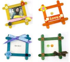 I want to share to you these popsicle projects I made last week. I have finished five mini photo frames from colored popsicle sticks. Grandparents Day Crafts, Mothers Day Crafts For Kids, Diy Crafts For Kids, Art For Kids, Homemade Picture Frames, Homemade Frames, Vbs Crafts, Preschool Crafts, Popsicle Stick Picture Frame