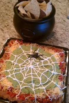 64 Non-Candy Halloween Snack Ideas ~ 5 layer dip with a sour cream spider web! - 64 Non-Candy Halloween Snack Ideas ~ 5 layer dip with a sour cream spider web! Halloween Snacks For Kids, Halloween Goodies, Halloween Food For Party, Halloween Birthday, Spooky Halloween, Halloween Recipe, Halloween Potluck Ideas, Halloween Cupcakes, Halloween Taco Dip