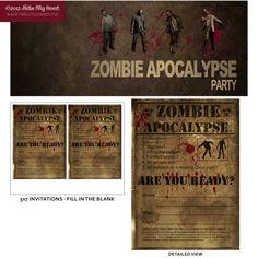 Custom Zombie Halloween or Birthday party 5x7 printable digital