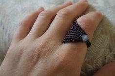 Purple macrame ring opal stone ♫° Teresa Restegui http://www.pinterest.com/teretegui/°♫