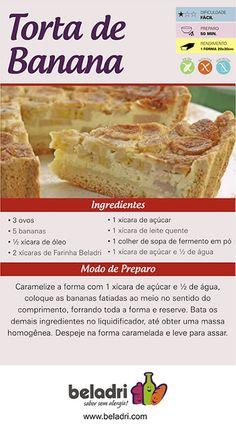 Receita de Torta de Banana sem Glúten! A Farinha sem Glúten Beladri você compra online aqui no Empório Ecco. Confira: https://www.emporioecco.com.br/farinha-sem-gluten-beladri