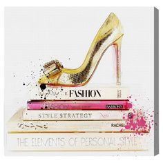Gold Shoe & Fashion Books Canvas Print