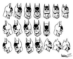 Batman head shots from multiple angles by Jose Luis Garcia-Lopez.