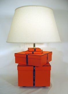 RESERVED/ CUSTOM Listing for INGE. Hermes. Chic Hermes Lamp, Orange, Hermes Gift Boxes and Ribbon, Hermes box, Silk Lamp Shade by FirstandFig on Etsy https://www.etsy.com/listing/223821847/reserved-custom-listing-for-inge-hermes