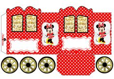Minnie in Red: Princess Carriage Shaped Free Printable Box. Minnie Mouse Birthday Decorations, Minnie Birthday, Printable Box, Pop Corn Box, Minnie Mouse Car, Scrapbook Da Disney, Disney Printables, Halloween Items, Party In A Box