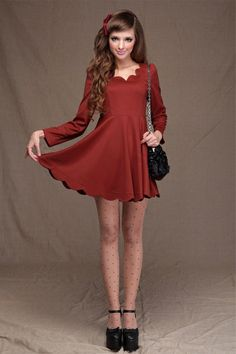 The dress is made of terylene, featuring pure color, V-neckline styling, long sleeves, high waist, zip closure back, petal edges to neck and hem, all in mini length cut.$74
