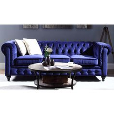 You'll love the Chesterfield Classic Scroll Arm Tufted Velvet Large Sofa at Wayfair - Great Deals on all Furniture  products with Free Shipping on most stuff, even the big stuff.
