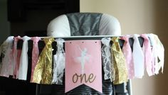 Ballerina Highchair Banner, Ballerina Birthday Banner, Ballerina Party, Pink Gold Party Banner, Princess Birthday Banner