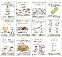 "Snacks of the Great Scribblers Print, New York Times    Published in the New York Times Book Review, Wendy MacNaughton's ""Snacks of the Great Scribblers"" depicts food the great writers use(d) to fuel their writing."