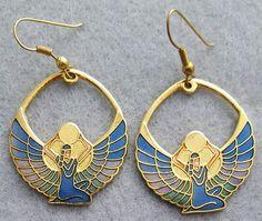 Vintage Egyptian Motif Earrings Cloisonne Style 1970s