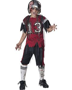 looks like this football player has been tackled too many times this kids dead zone zombie costume is a scary costume for boys