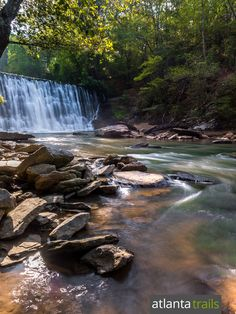 Hike the Vickery Creek Trail at Roswell Mill to a stunning spillway waterfall just north of Atlanta, GA