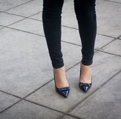 pointy toes and skinny pants