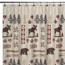 Big Woods Shower Curtain (Moose and Bear Shower Curtain) lodge ...