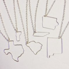 Wire Worked American State - Silver Plated, Gold Plated, or Rose Gold Plated Necklace - USA - United States of America