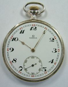 Silver Omega 1929 pocket watch