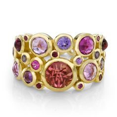 Dower & Hall-Gold Dotty Cascade Ring #precious # gold #sapphire #ruby