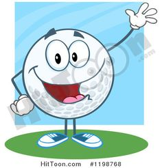 Cartoon of a Happy Waving Golf Ball Character over Blue and Green - Royalty Free Vector Clipart #1198768
