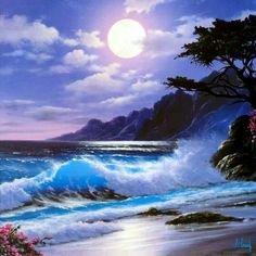 Beautiful moon over the waves Ocean Scenes, Beach Scenes, Fantasy Landscape, Landscape Art, Landscape Pictures, Shoot The Moon, Beautiful Moon, Beautiful Images, Seascape Paintings