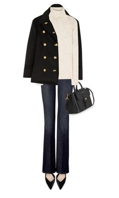 """""""Burberry Pea Coat"""" by jaycee0220 ❤ liked on Polyvore featuring Burberry, Zara, 7 For All Mankind and Isabel Marant"""