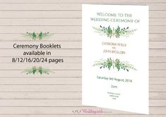 This gorgeous wedding mass booklet comprises a lovely green wreath on the cover with a wedding church photo inserted on the inside of the wreath. Each wedding mass booklet comprises 12 pages in black and white with graphics optional for the inner pages. We have a fantastic offer for a limited period only a whopping 30% off the full price for 100 wedding mass ceremony booklets currently priced at €168. Yes that's 30% off.