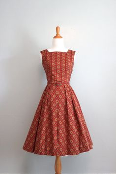 Vintage 50s Dress / 1950s Sundress / 50s Red Print Day Dress. $74.00, via Etsy.