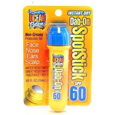 Ocean Potion Suncare Dab-On Sport Stick SPF 50 -- 0.65 fl oz by Ocean Potion. $3.59. Easy to ApplyDab-On ApplicationDries InstantlyMatte Finish - No Greasy look or feel New dab-on, easy to apply application dries instantly. Ocean Potion. Easy to ApplyDab-On ApplicationDries InstantlyMatte Finish - No Greasy look or feel New dab-on, easy to apply application dries instantly. The matte finish leaves no greasy look or feel and can be worn under cosmetics. Water res...