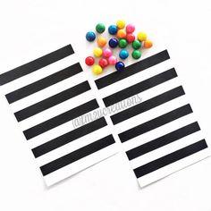 Black STRIPE Favor Bag24 BLACK Stripe Paper by LetsPartyCreations
