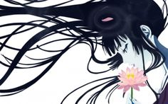 The lotus flower - lotus, pink, art, beauty, anime, brunette, girl, flower, lilly, manga, fantasy