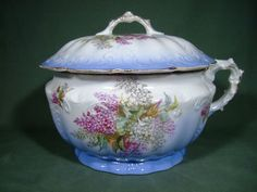 1884 to 1904 Antique E P P Co Marquette Blue Floral Gold Chamber Pot