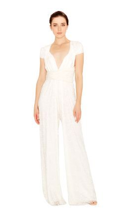 b6195604ad39 The convertible jumpsuit is now available in white lace and perfect for the  bride to be