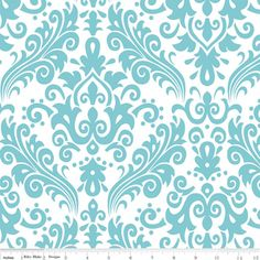 Riley Blake Designs - Hollywood - Large Damask in Aqua on White; lots of other colors, and also in medium size design (also pinned); also with white/color reversed (see grey/white in medium)