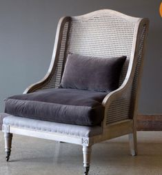 This beautiful cane wingback lounge chair features a grey washed frame and stunning grey velvet seat cushion and matching bolster pillow. x x Wood frame, polyester fabric, and rattan Ships Free by truck Farmhouse Style Furniture, Farmhouse Style Decorating, Farmhouse Chairs, Farmhouse Decor, Velvet Cushions, Seat Cushions, Painted Fox Home, Metal Garden Benches, Cane Back Chairs