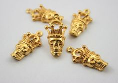 10 pcs. Zinc Gold Skull Skull Crown Head Charms Pendants Decorations 14x28 mm. #Pekinesis