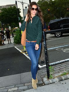 ankle boots over jeans  | Katie Holmes