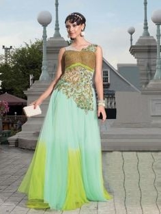 Sea Green Net Wedding Gown With  Lycra Inner