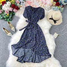 Boho Vintage Ruffles V Neck Long Chiffon Irregular Tunic Dress Elegant Maxi Dress, Chiffon Dress Long, Boho Dress, Casual Dresses, Fashion Dresses, Short Sleeve Dresses, Midi Dresses, Edgy Outfits, Holiday Dresses