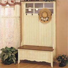 French Country Hall Tree with Storage Bench.