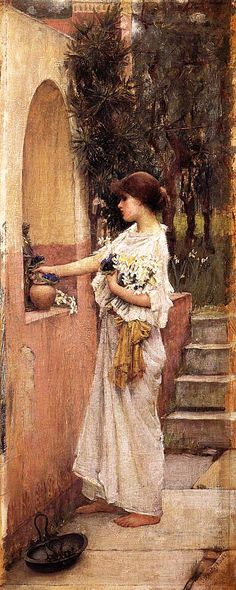 """A Roman Offering, 1890John William Waterhouse (1849–1917)""""I pray, Apollo, let me be content with what I have, enjoy good health and clarity of mind, and in a dignified old age retain the power of verse"""" (Horace, Odes, I. 31)"""