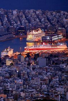 The Port of Piraeus, (near Atene)Attica, Greece Mykonos, Beautiful Islands, Beautiful Places, Places Around The World, Around The Worlds, Athens Greece, Attica Greece, Places To Travel, Places To Visit