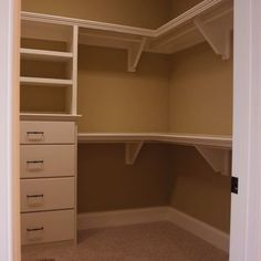 Need this for his & hers plus open area for current drawers ------Corner Closet Design Ideas, Pictures, Remodel, and Decor Closet Redo, Closet Remodel, Master Bedroom Closet, Kid Closet, Closet Space, Bathroom Closet, Master Bedrooms, Bedroom Wardrobe, Bedroom Closets