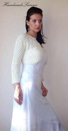 Ivory Bridal Bolero Wedding Shrug Lace Crochet by HandmadeLaremi, $83.00
